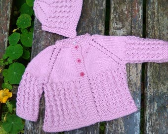 Knitted Baby Cardigan & Bonnet