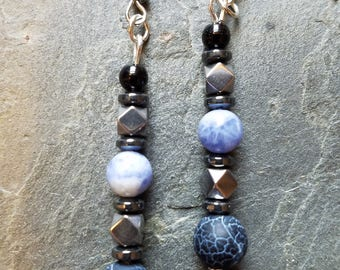 Unique blues and silver earrings
