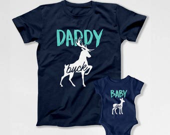Matching Father And Baby Daddy And Me Outfits Dad And Daughter Shirts Dad And Son T Shirts Father's Day Gift Daddy Buck Baby Doe TEP-211-212