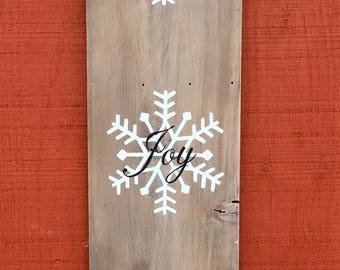 Peace Joy Love Sign//Christmas Wood Sign//Hand painted Sign/Snowflake Decorations//Rustic Home Decor//Christmas Decorations//