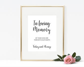 Simple in loving memory sign wedding printables, elegant wedding in memory of sign, wedding memorial sign, in loving memory wedding sign W03