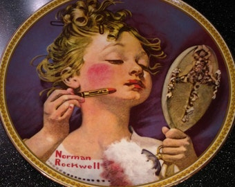 """Americana Nostalgia Norman Rockwell """"Making Believe At The Mirror"""" Collectors Plate M Knowles Fine China"""