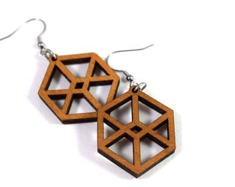 Boucles d'oreilles acier et bois / Plywood and stainless steel earrings