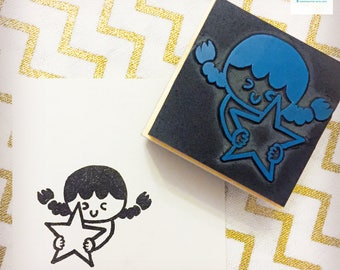 Hand Carved Girl with Star Rubber Stamp