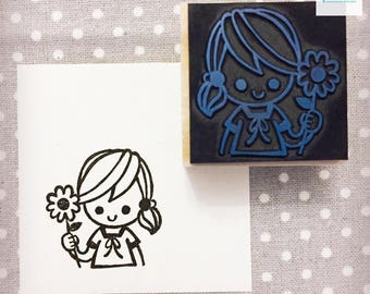 Hand Carved Cute Girl with Flower Rubber Stamp