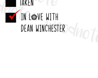 Supernatural I love Dean Winchester SVG Checklist Digital File SPN