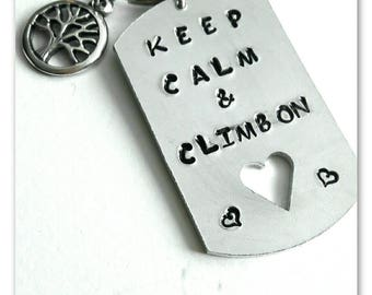 Personalised keyring Mountain climbing Climbing gift Keep calm and climb on Hand stamped Climber gift Hiking gift Personalised gift