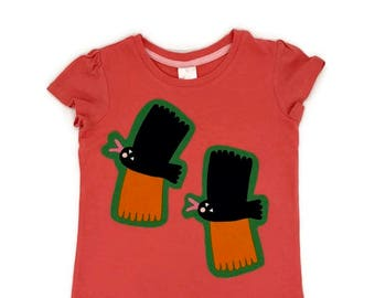 Fun Girl's t-shirt, Kids pink tee, Birds from Marimekko Fabric Tiikoni Size 4, Pink Top with Funky Birds, Finnish Design