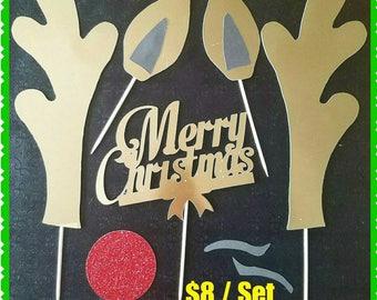 Rudolph Reindeer Cake Topper Custom made Christmas holiday DIY Set