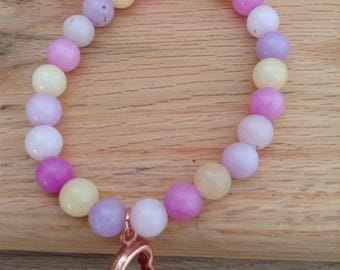 Pastel Quartzite Stretchy Bracelet with Rose Gold Plated Copper Heart Charm
