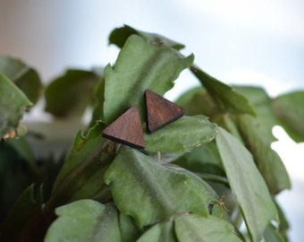 Wooden Triangle Stud Earrings