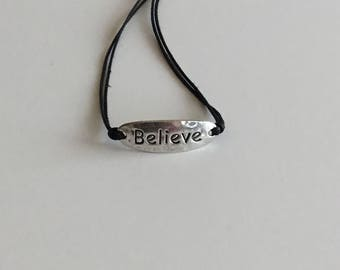 Adjustable Believe Bracelet Silver with Black Cotton Cord
