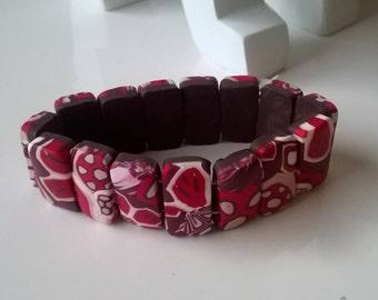 Bracelet elastic 17 cm - polymer clay