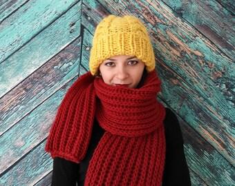 Gelbe Mütze/ Winter Mütze / Grobstrickmütze