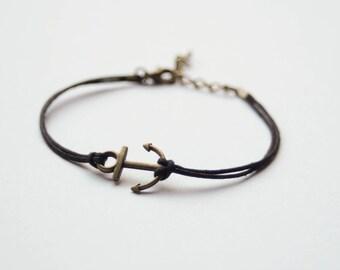 Anchor Bracelet bronze silver gold black strap