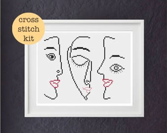 Picasso Faces cross stitch kit | modern cross stitch | beginner cross stitch | easy cross stitch | handmade gift