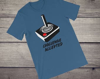 Joystick T-Shirt, vintage, retro, Arcade games, 80s, 90s, challenge accepted, player 1 player 2, gamer gift, Short-Sleeve Unisex tshirt tee
