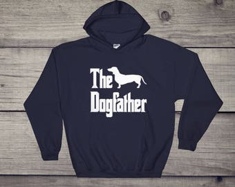 The Dogfather hooded sweatshirt, dachshund silhouette, sausage dog, funny dog gift hoodie, The Godfather parody, dog lover sweater, dog gift