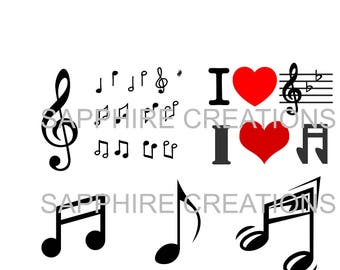 Music Note SVG Files, Piano Notes, BFlat, Music Notes, SVG and PNG Files, Silhouette, Silhouette Cut Files