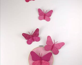 Butterfly Cluster Wall Hanging - Fuchsia
