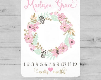 Baby Girl Milestone Blanket, Pink Floral Newborn Photography Backdrop, Month Growth Chart Quilt, Flower Personalized Baby Shower Gift