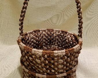 Handmade brown and beige macrame basket by TwistedandKnottyUS