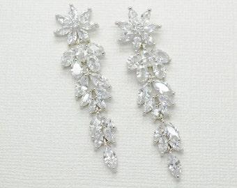 Dahlia Cubic Zirconia Drop Earrings - Silver CZ Dangle Earrings, Crystal Earrings, Bridesmaid Earrings, Bridal Earrings, Wedding Jewelry