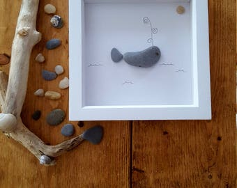 Handmade Pebble Whale Art