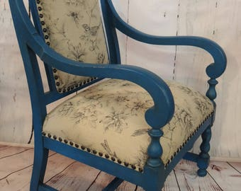 "Rustic Antique ""Bluebird"" Parlor Chair Restored * Farmhouse * Country"
