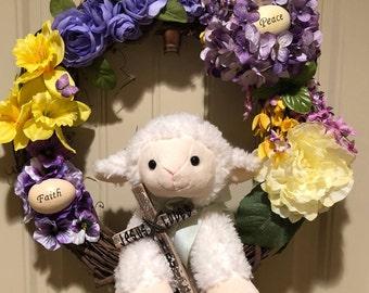 Easter Wreath - Lamb of God Jesus Loves Me
