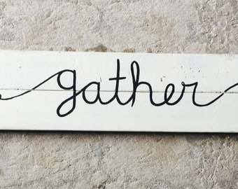 Gather rustic pallet wood sign