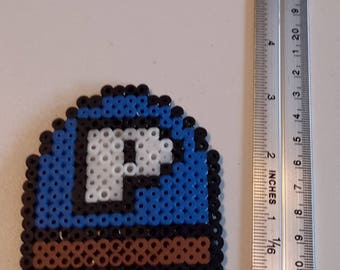 Blue P made of hama beads
