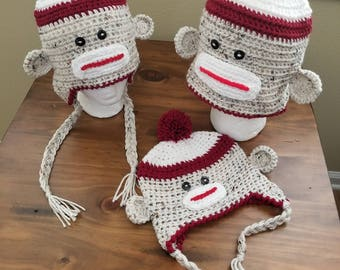 Sock monkey beanie with flaps