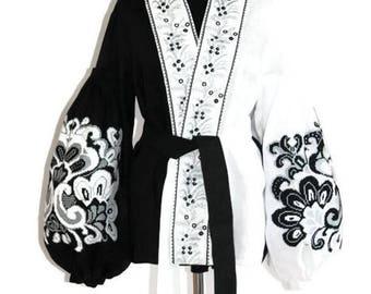 Vyshyvanka Boho Ukrainian Clothing Gift Bohemian Blouse Ethnic Style Vishivanka Custom Boho Clothing Mexican Embroidery Ethnic Folk Blouses