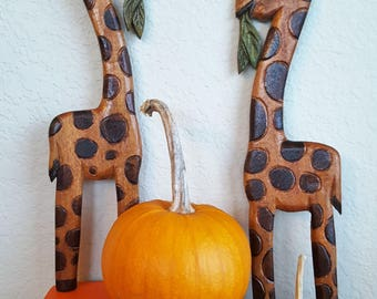 hand carved wood giraffe pair
