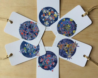 Kaleidoscope Snowflake Gift Tags x6
