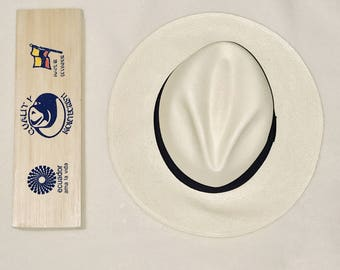 """Authentic Handwoven Classic White Montecristo """"Panama Hat"""" Made with Love"""