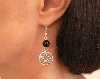 Pentacle and Black Onyx Earrings Pagan Wicca Hypo-allergenic Silver-plated Fishhooks