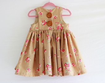 RTS, Tan Floral Baby Dress, floral dress,  baby clothes, baby girl clothes, baby girl shorts, toddler, floral, tan baby dress