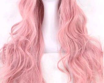 Customizable - PINK - long curly wavy Wig w/ bangs - scene emo cosplay anime punk lolita mermaid hair styles real Wig -