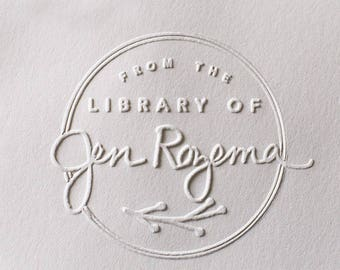 Custom Embosser stamp, From the library of embosser,Library seal, library stamp,book embosser,hand held