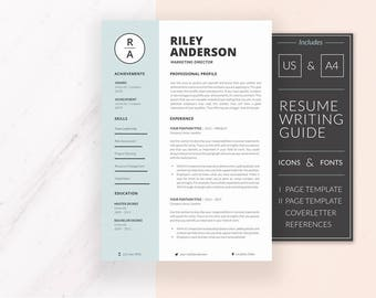 Professional Resume Template | Resume Template for Word | CV Template + Cover Letter & References | Modern Resume | Instant Download | RILEY