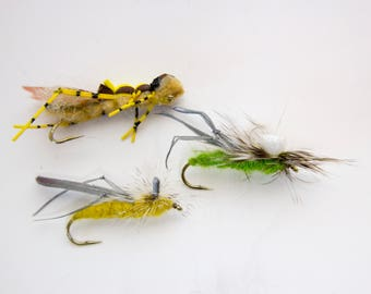 Hand tied grasshopper trout flies