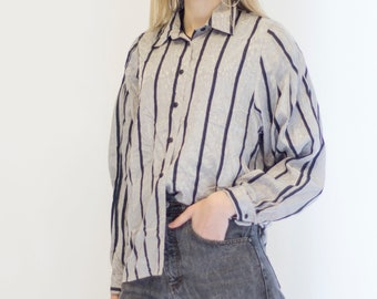 VINTAGE Light Grey Striped Button Downs Retro Shirt