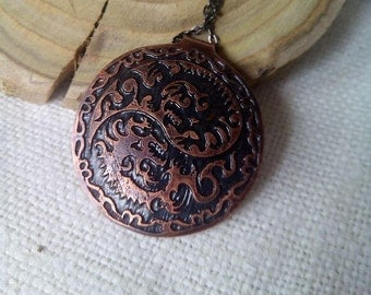 Copper Pendant Boho pendant Boho chic Bohemian accessories Pendant with dragons Boho jewelry Ethnic jewelry Unusual gift