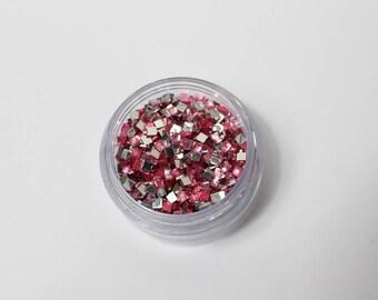 6.5 g 3 mm pink square rhinestone paste (approximately 1950 rhinestone)