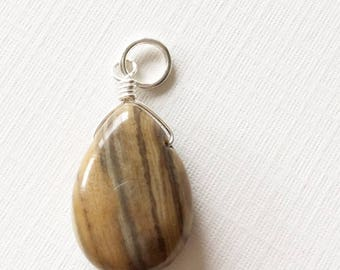Wood jasper wire wrapped necklace drop,wire wrapped dangle, wood jasper, wood look, jasper necklace, gift for her,jasper dangle