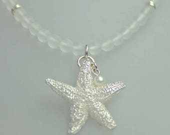 Silver-starfish pendant on mountain crystal chain