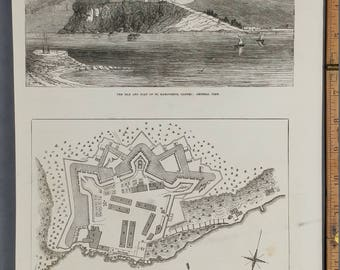 Isle and Fort of St. Margurite, Cannes: General View. Man in the Iron Mask.  Large Antique Engraving