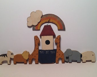 Noah's Ark Wooden Wall Hanging with Rainbow